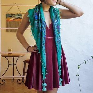 Turquoise & Blue boho tassel scarf